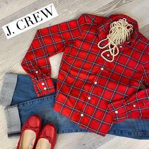 "J. CREW Red ""Boy Fit"" Plaid Button Down Shirt XS"